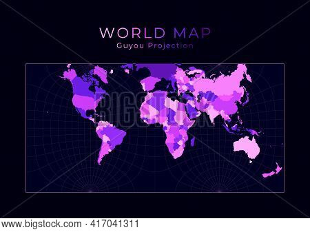 World Map. Guyou Hemisphere-in-a-square Projection. Digital World Illustration. Bright Pink Neon Col
