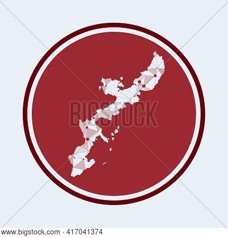 Okinawa Island Icon. Trendy Tech Logo Of The Island. Geometric Mesh Round Design. Technology, Intern