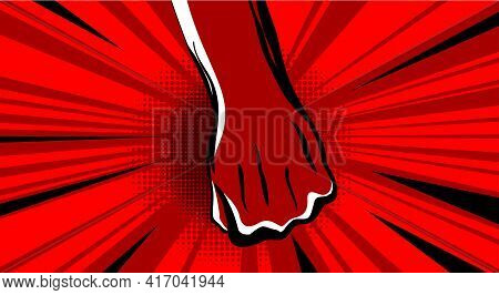 Hand Fist. Raised Arm Fist With Comic Background. Hand Up Vector Icon Flat Symbol. Winner Fist Vecto