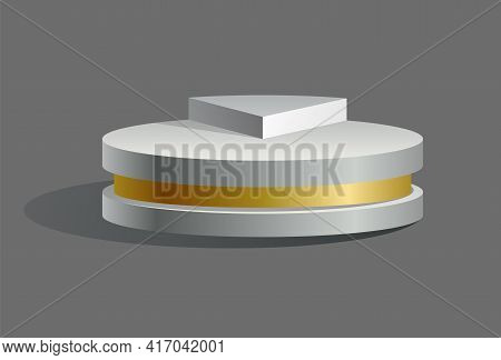 Podium Realistic. Showroom Pedestal, Floor Stage Platform Vector Isolated Mockup. White And Gold 3d