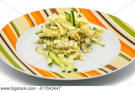 Cabbage, Cucumber And Egg Salad With Mayonnaise