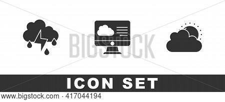 Set Cloud With Rain And Lightning, Weather Forecast And Sun Cloud Weather Icon. Vector
