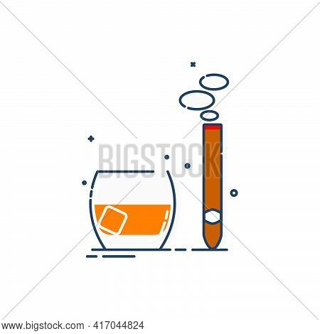 Glass Of Whiskey And Cigar Great Design For Any Purposes. Isolated Illustration White Background. Cl