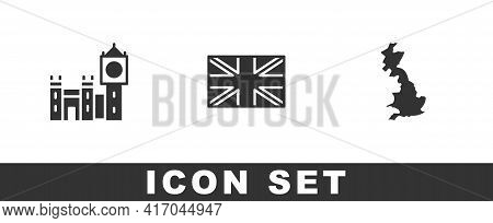 Set Big Ben Tower, Flag Of Great Britain And England Map Icon. Vector