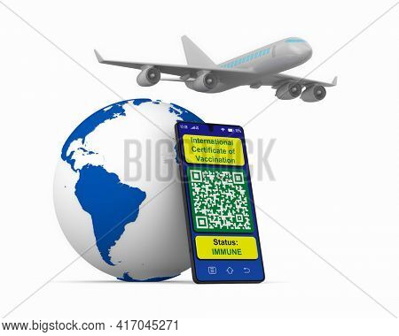airplane and digital passport of vaccination in phone on white background. Isolated 3D illustration