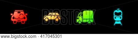 Set Car, Hatchback Car, Delivery Cargo Truck And Train And Railway Icon. Vector