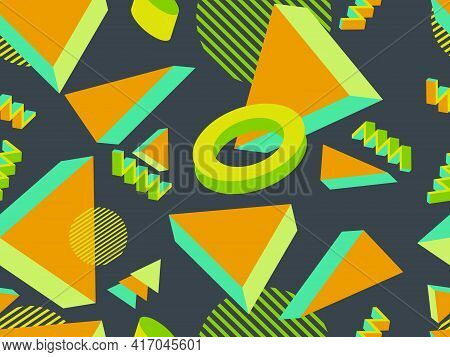 Geometric Memphis Seamless Pattern In Style Of The 80S. Modern Trendy Background With 3D Objects, Vi