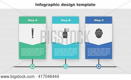 Set Police Rubber Baton, Hand Grenade And Special Forces Soldier. Business Infographic Template. Vec