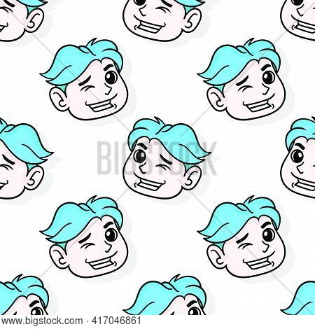 Handsome Boy Smiled Seductively Seamless Pattern Textile Print. Great For Summer Vintage Fabric, Scr