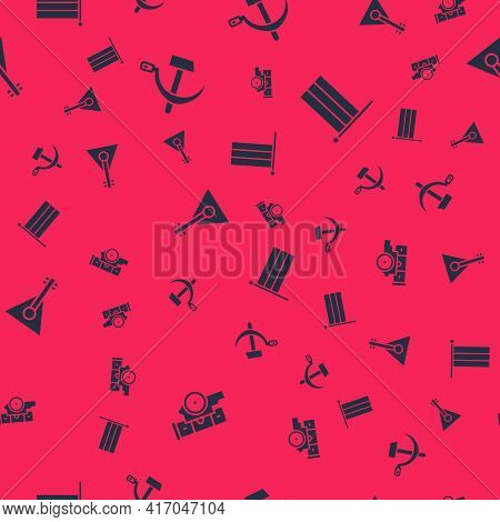 Set Cannon, Hammer And Sickle Ussr, Balalaika And National Russia Flag On Seamless Pattern. Vector