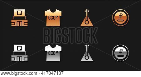 Set Mausoleum Of Lenin, Ussr T-shirt, Balalaika And Rouble, Ruble Currency Icon. Vector
