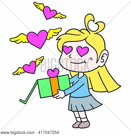 Beautiful Blonde Girl Brings A Valentine Day Gift For Her Loved Ones, Doodle Draw Kawaii. Vector Ill
