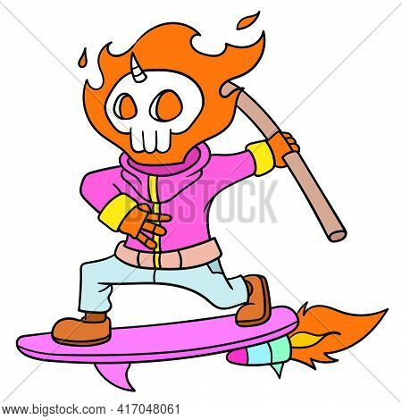 Ghost Rider Fly Playing Skateboard, Doodle Draw Kawaii. Vector Illustration Art