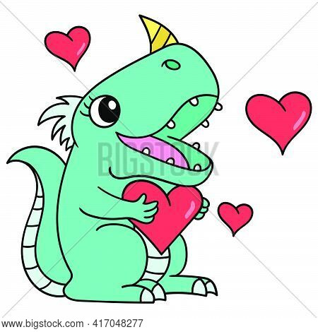 Female Dinosaur Is In Love During Valentine Moment, Doodle Draw Kawaii. Vector Illustration Art