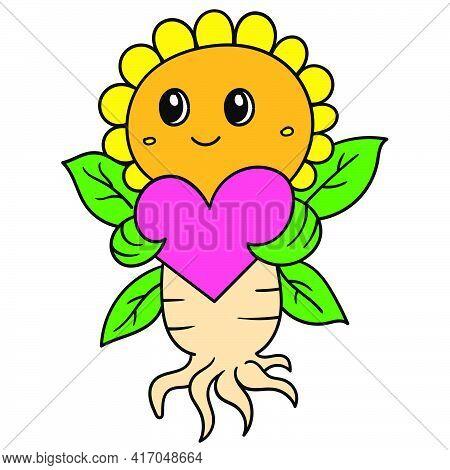 Cute Sunflowers Bring Love Heart Celebration Valentine, Doodle Draw Kawaii. Vector Illustration Art