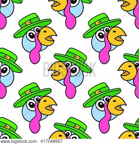 Cute Turkey Fowl Seamless Pattern Textile Print. Great For Summer Vintage Fabric, Scrapbooking, Wall