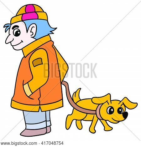 A Detective In A Thick Coat With Sniffer Dogs Investigating The Case. Vector Illustration Art, Doodl