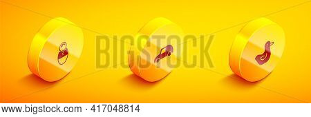 Set Isometric Tumbler Doll Toy, Toy Car And Rubber Duck Icon. Vector