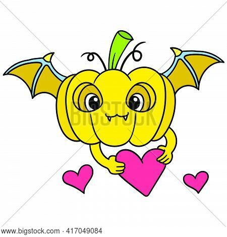 The Flying Bat Winged Pumpkin Brings Hearts For Valentine Celebration, Doodle Draw Kawaii. Vector Il
