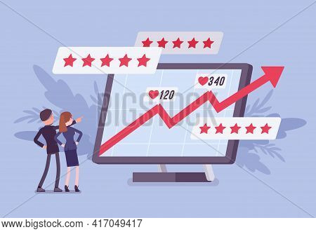 Positive Online Reputation Management, Growing Up Arrow Graph. Giant Screen With Excellent E-reputat
