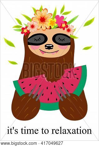 Cute Baby Sloth Eating Watermelon. Funny Hippie Sloth Holding Watermelon Slice Isolated On White. Ve