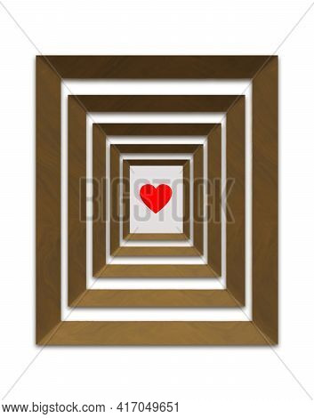 A Red Heart Design Is The Focus Of This 3-d Illustration Where Five Wooden Picture Frames Put The Fo