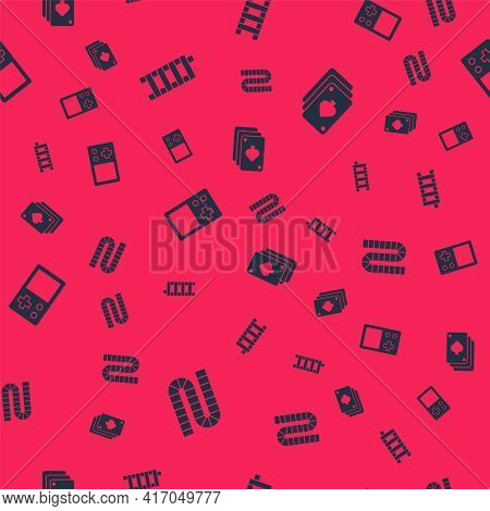 Set Board Game, Mahjong Pieces, Tetris And Playing Cards On Seamless Pattern. Vector