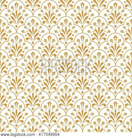 Flower Geometric Pattern. Seamless Vector Background. White And Gold Ornament. Ornament For Fabric,