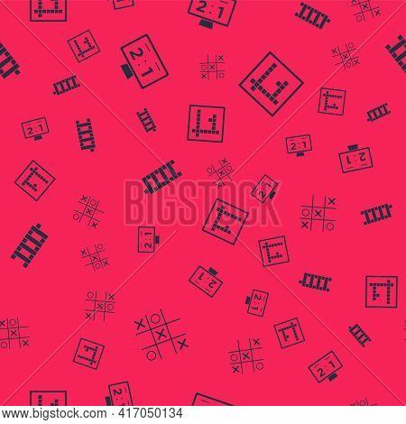 Set Tic Tac Toe Game, Sport Mechanical Scoreboard, Mahjong Pieces And Bingo On Seamless Pattern. Vec