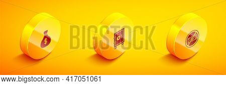 Set Isometric Money Bag, Safe And No Money Icon. Vector