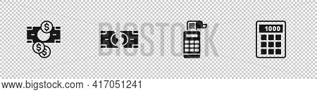 Set Stacks Paper Money Cash, Tearing Banknote, Cash Register Machine And Calculator Icon. Vector