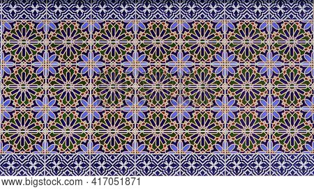 Tiled Background With Colorful Oriental Ornament. Arabic Pattern Background, Traditional Oriental Is