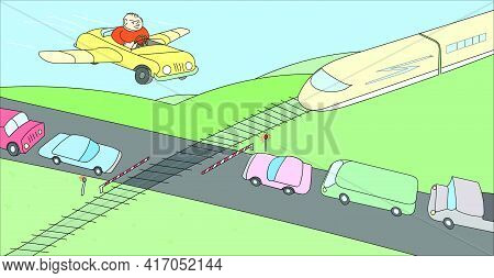Person In His Imagination Overcomes A Large Traffic Jam At The Railway Crossing