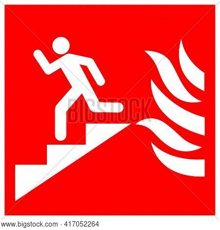 In Event Of Fire Use Stair Symbol Sign, Vector Illustration, Isolate On White Background Label. Eps1