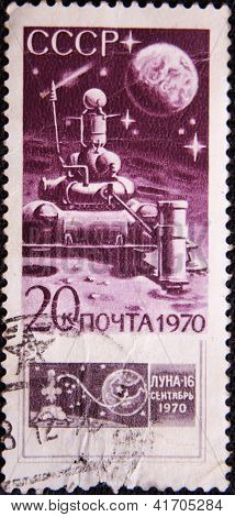 RUSSIA - CIRCA 1970: stamp printed by USSR shows  moon's satellite
