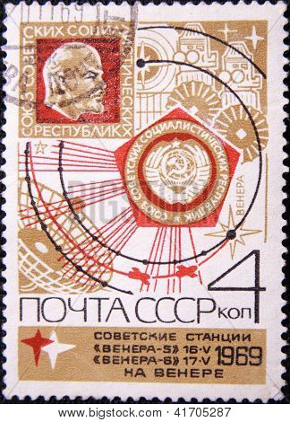 RUSSIA - CIRCA 1969: A stamp printed by USSR shows Russian satellites