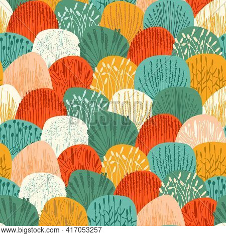 Amless Repeating Pattern With Realistic Vector Illustrations Of Grasses