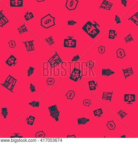 Set Judge, Justice Law In Shield, Office Folders And Scales Of Justice On Seamless Pattern. Vector