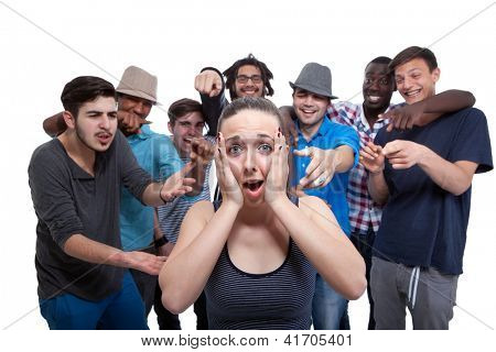 Young Woman Blamed By Her Friends On White Background