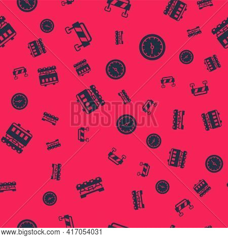Set Cargo Train Wagon, Road Barrier, Passenger Cars And Train Station Clock On Seamless Pattern. Vec