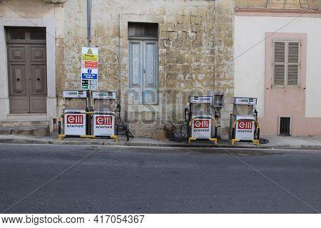 Valetta, Malta - October 22, 2020: Old Working Gas Station On The Street In Malta