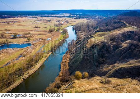 Aerial View To Spring Valley With Siverskyi Donets River