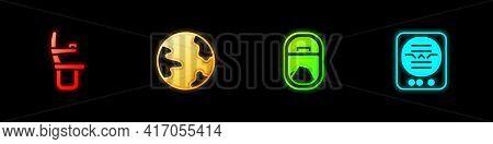 Set Airplane Seat, Worldwide, Window And Attitude Indicator Icon. Vector
