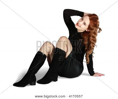 Sitting Sexual Long Haired Girl In Skirt On White