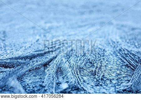 Surface Covered With Beautiful Hoarfrost, Closeup View