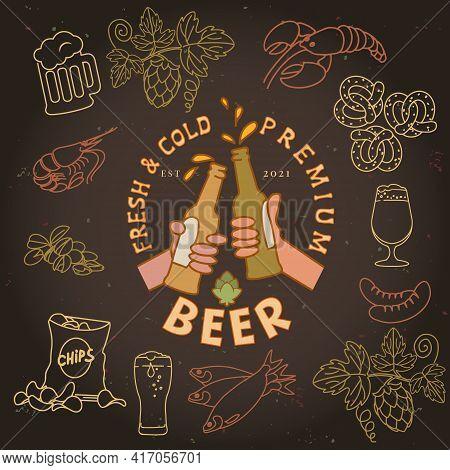 Bottled Beer In Hand And Snacks. Beer Bottles On Dark Background. Crayfish, Shrimp, Chips, Pistachio