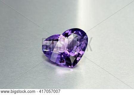Natural Bolivian Deep Purple Amethyst Gemstone. Heart Checker Faceted Loose Semiprecious Violet Colo