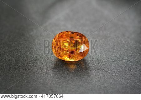 Natural Mined, Loose, Oval Faceted, Orange Color, Transparent, Beryllium Heated, Treated Sapphire Ge
