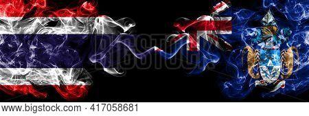 Thailand, Thai Vs British, Britain, Tristan Da Cunha Smoky Mystic Flags Placed Side By Side. Thick C
