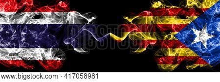 Thailand, Thai Vs Catalonia, Catalan, Catalonian, Spain Smoky Mystic Flags Placed Side By Side. Thic